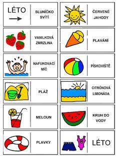 Pro Šíšu: Období LÉTO Learning English For Kids, Teaching Spanish, Month Weather, Language Dictionary, Pictogram, Four Seasons, Learn English, Writing Tips, Art School
