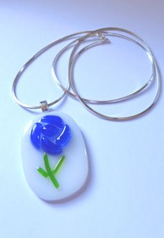 Fused Glass Blue Rose Pendant
