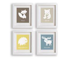 Impression d'art coloré et moderne chambre de bébé ours/renard/hérisson/moose enseigner association de mots qui peuvent être personnalisés avec des langues différentes. • Tirages sont imprimés sur un papier mat, Archives acide avec des encres de qualité supérieure. • Feutré tirages sont