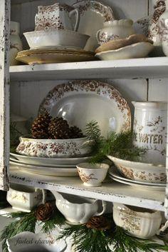Faded Charm: ~Primitive Cupboard & Pinecones~