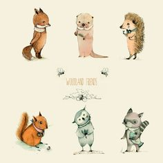 Woodland amis ensembleChildrens sticker impression terre par holli