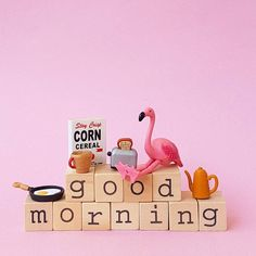 Goodmorning...have a great week! #aflamingoaday #goodmorning #breakfast #food #coffee #toast #egg #cornflakes #monday #flamingo