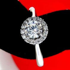 Real 14K solid white gold 1.00ct Halo style round Brilliant cut Engagement Ring