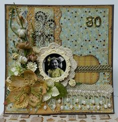 80 ~ Scrap a special heritage page in honor of a milestone birthday! Love the gold and cream color palette, doily framing and gorgeous beaded trims.