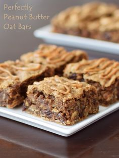 Perfectly Peanut Butter Oat Bars Recipe - like Clif Bars only WAY better! Naturally vegan, gluten-free, soy-free nutritious treat, and spiked with cinnamon and raisins.