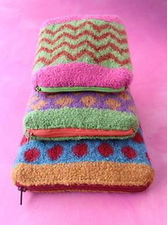 Felted zippered bags. Perfect stashbuster. #knitting.