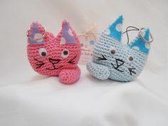Portachiavi gatto amigurumi, in cotone all'uncinetto. : Portachiavi di il-mondo-di-sabi