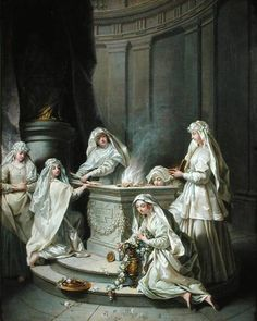 Vestal-virgins were the only female priests within the Roman religious system.It was their job to maintain the sacred fire of Vesta. They had other tasks such as keeping wills and testaments of various people such as Caesar and Mark Antony.