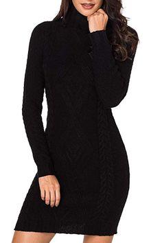 7dbb676ee5 LaSuiveur Women Turtleneck Slim Fit Stretchable Long Sleeve Sweater Jumper  Dress Black L