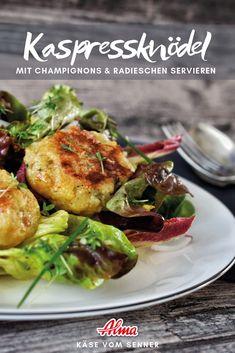 Zutaten mischen, Laibchen formen & goldgelb braten. Schon sind die Kaspressknödel fertig. Potato Salad, Potatoes, Meat, Ethnic Recipes, Food, Carne Asada, Eten, Potato, Meals