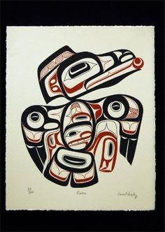 """Raven"" Signed and numbered limited edition Tsimshian native print by David Boxley, from Metlakatla, Alaska Native American Totem, Native American Artwork, American Indian Art, Canadian Art, Native Canadian, Raven Art, Haida Art, Inuit Art, Coastal Art"