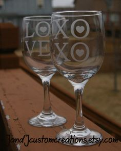 This listing is for a set of 2 Wine glasses. XOXO Hugs and Kisses and LOVE!. Great for the happy couple! This listing is for one wine glass.