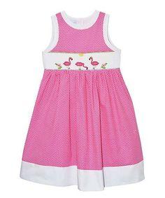 Love this Pink Polka Dot Flamingo A-Line Dress - Infant, Toddler & Girls on #zulily! #zulilyfinds