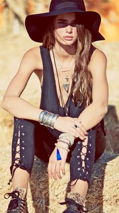 Black lace up modern hippie pants, boho chic floppy hat, layered gypsy style necklaces. For the BEST Bohemian fashion  jewelry  style trends FOLLOW http://www.pinterest.com/happygolicky/the-best-boho-chic-fashion-bohemian-jewelry-gypsy-/
