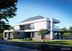Two storey house in modern style with usable area Minimum size of a plot needed for building a house is m. Two Story House Design, House Front Design, Modern Exterior House Designs, Modern House Design, Woodland House, Two Storey House, Luxury Homes Dream Houses, Facade House, Glass House