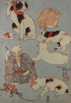 Proverbs Illustrated by Cats (Left) - Kuniyoshi  たとえ尽の内・左図