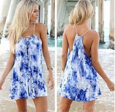 Blue Floral Condole Belt Drawstring Sleeveless Mini Dress - Mini Dresses - Dresses