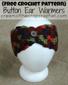 Cream Of The Crop Crochet ~ Button Ear Warmers {Free Crochet Pattern}