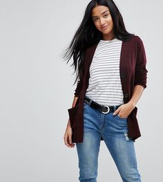 ASOS PETITE Cardigan with Pockets and Buttons - Red