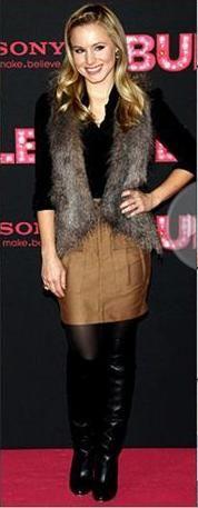 Fur vest, black blouse, camel skirt, black boots.  Love this.