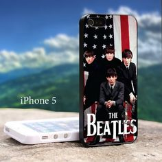 The Beatles Band With US Flag Iphone 5 Black Case   GoToArt - Accessories on ArtFire