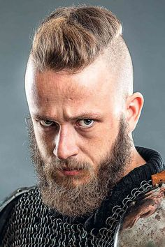 The best ideas for Viking hairstyles are gathered here. Find a short curly mens top knot, a medium undercut hairstyle, intricate Viking braids for long hair and many other stylish haircuts and beards for warriors in our gallery. #menshaircuts #menshairstyles #viking #vikinghaircut #vikinghairstyles #vikinghair Tapered Undercut, Medium Undercut, Undercut Men, Viking Haircut, Viking Hairstyles, Undercut Hairstyles, Stylish Haircuts, Haircuts For Men, Viking Braids