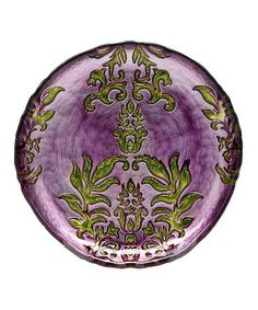 Loving this Purple & Green 8.5'' Damask Plate on #zulily! #zulilyfinds