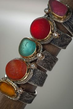 Client Choice - Sea Candy rings-Victorian era sea glass in rare shades, with gold and reticulated silver, diamonds. Photo by Marcy Merrill