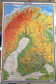 Vanha koulun opetuskartta / Vintage school map of Finland School Memories, My Childhood Memories, Sweet Memories, Good Old Times, Vintage School, Hamburgers, Old Toys, Finland, Maps