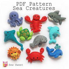 Sea Creatures felt softies pdf pattern sew sweet von sewsweetuk