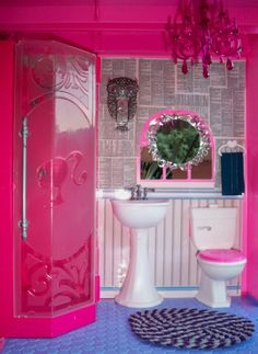 """""""Mark Montano took it to a whole other level with his version of Barbie's Dream House. Also since the invention of Glitter Blast Spray Paint, this house is Barbie's Dream.""""- think crafts Barbie Bathroom, Barbie Room, Barbie Doll House, Barbie Dream House, Glitter Blast Spray Paint, Glitter Paint, Glitter Bomb, Kids Toys For Boys, Plastic Crates"""