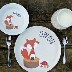 personalized kids plate   fox