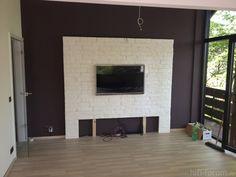 Idee: Tv-wand Aus Laminat | Zukünftige Projekt | Pinterest | Wand ... Wohnzimmer Ideen Tv Wand Stein