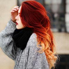 Red and orange shatush