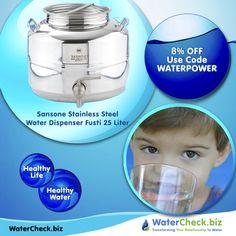 Our Sansone Stainless Steel Water Dispenser Fusti Fustino is a stylish, solid and hygienic. BPA Free. NSF Certified. https://www.watercheck.biz/products/sansone-stainless-steel-water-dispenser-fusti-25-liter-6-6-gal?utm_content=bufferbe26c&utm_medium=social&utm_source=pinterest.com&utm_campaign=buffer