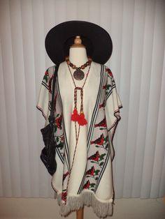 SOLD Vtg Ethnic Boho Hippie Red Bird Knit Fringed Cochella Mexican Serape Poncho OS by casadelagitana on Etsy
