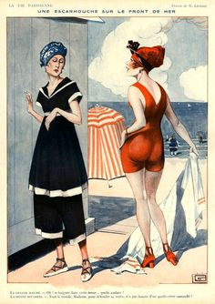 La Parisienne 1920s Illustration of 2 women:one in an old fashioned modest swim outfit and the other woman dressed racier and more fashionable,