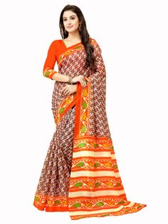b9b6c7405 Buy Orange Color Glory Art Bhagalpuri Printed Saree