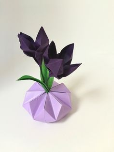 Origami Ikebana in Purple