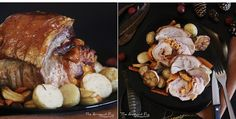Recipe for a delicious Pork roast Orloff, stuffed with mimolette cheese and bacon rashers, served with honey roasted potatoes, carrots and parsnips ! Some comfort food for the cold autumn days. Roasted Potatoes, Pork Roast, Food Pictures, Pug, Carrots, Bacon, Honey, Cold, Autumn