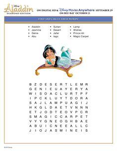 Free Printable Disney Aladdin Activity Sheets Diamond Edition Disney Aladdin Puzzle Find and Circle Word Puzzle Activity Sheet – Disney Crafts Ideas Disney Activities, Disney Games, Film Disney, Disney Day, Disney Trips, Activities For Kids, Disney Theme, Travel Activities, Disney Movies