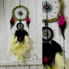 """Hi! My name is Anna Maria. I'm from Ukraine. In your stores, I create beautiful products for interior decoration of any room in your home.     Diameter 11 cm (4.3 inch) and 5 cm (2 inch), length 49 cm (19,1 inch)    Materials: Basis – vine, willow, metal, cotton, glass, rooster feathers, Guinea fowl feathers    Dreamcatcher, dream catcher (angl. inanimate form word """"spider"""", or """"trap dreams"""") — Indian talisman that protects the sleeper from evil spirits. Bad dreams become entangled in a…"""