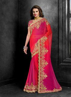 Ravishing Embroidered Work Faux Chiffon Classic Designer Saree