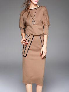 Khaki 3/4 Sleeve Bodycon Midi Dress