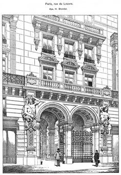 Paris, rue du Louvre. Architect H. Blondel. The architecture of the second half of the XIX century. Drawings and sketches.