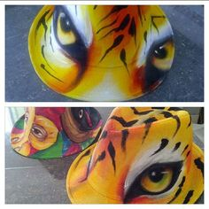 Resultado de imagen para camisetas de carnaval pintadas a mano 2015 Painted Hats, Hand Painted, Hat Making, Fabric Painting, Big Cats, Decoupage, Mosaic, Projects To Try, Ink