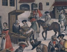 Page 32, Detail: The around the middle of the 16th Century Augsburg months resulting images provide remarkable insights into the cultural history and everyday life colorful celebration of the Reformation. . (The Perlach place in winter, detail, panel painting, mid-16th century, Henry Voigt Lord, Augsburg, Maximilian Museum)
