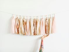 Blush, Rose Gold and Champagne Shimmer Tassel Garland - Baby Shower Decorations, Blush Wedding Decor, Bachelorette Party, High Chair Banner by pomtree on Etsy https://www.etsy.com/listing/490680886/blush-rose-gold-and-champagne-shimmer