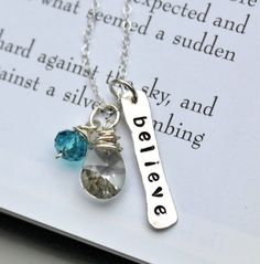 Believe in Yourself Hand Stamped Necklace by TheSilverWren on Etsy, $36.00
