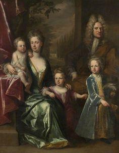 c.1710, The Dryden Family: Edward Dryden (d.1717), His Wife, Elizabeth Allen and Their Children, John Dryden (c.1704–1770), Later Sir John Dryden, 7th Bt; Bevill Dryden (d.1758); and Mary Dryden, Later Mrs Allen Puleston. Jonathan Richardson the elder (c.1664–1667–1745). National Trust, Canons Ashby.